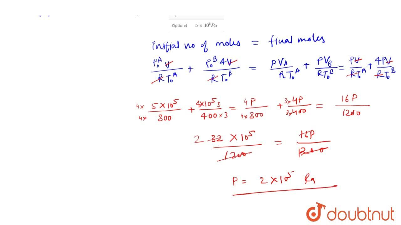 Solution for Vessel A contains an ideal gas at a pressure 5xx1