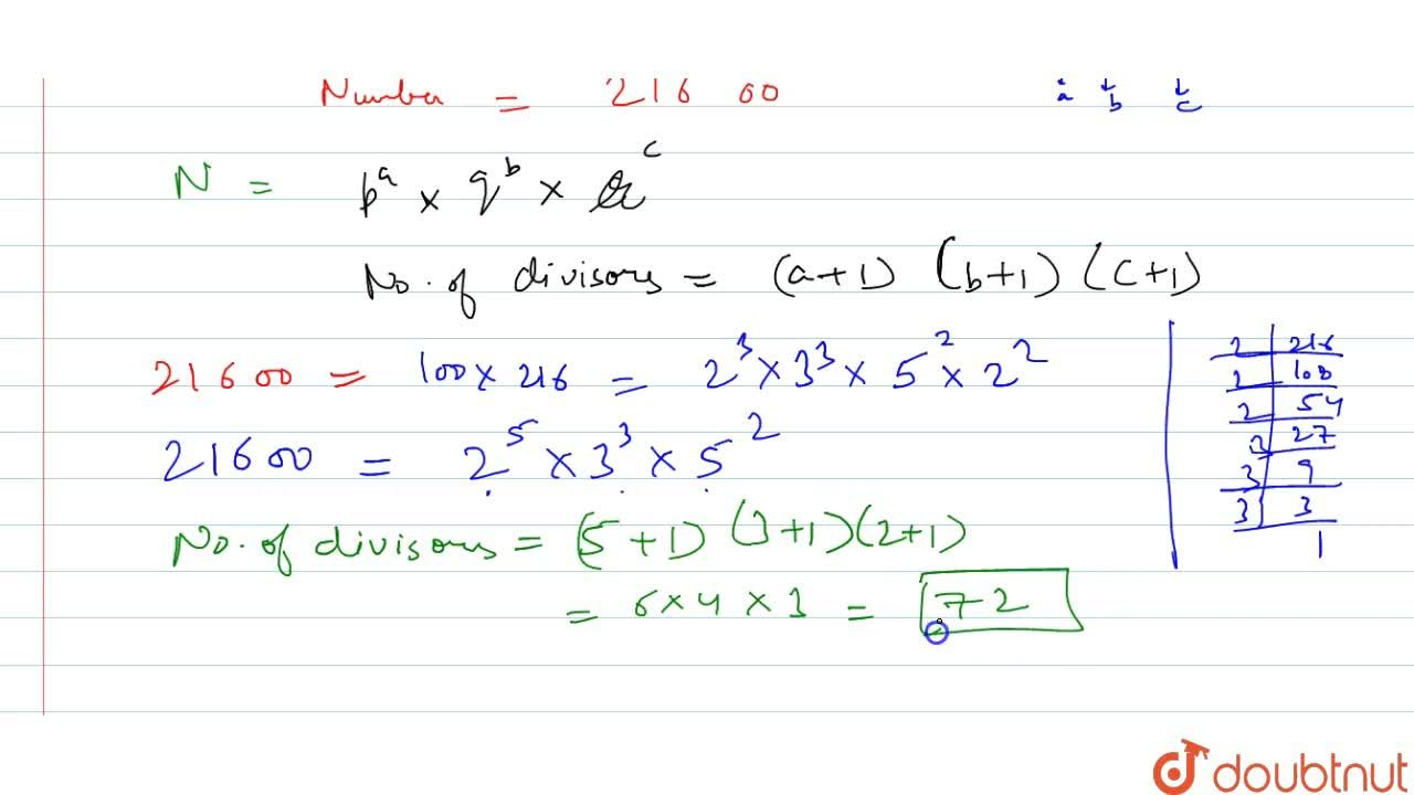 Solution for Find the number of divisors of 21600.