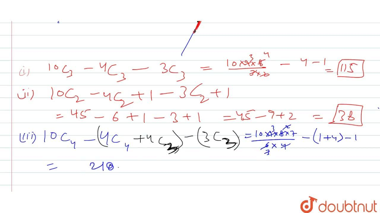 Solution for There are ten points in a plane. Of these ten poin