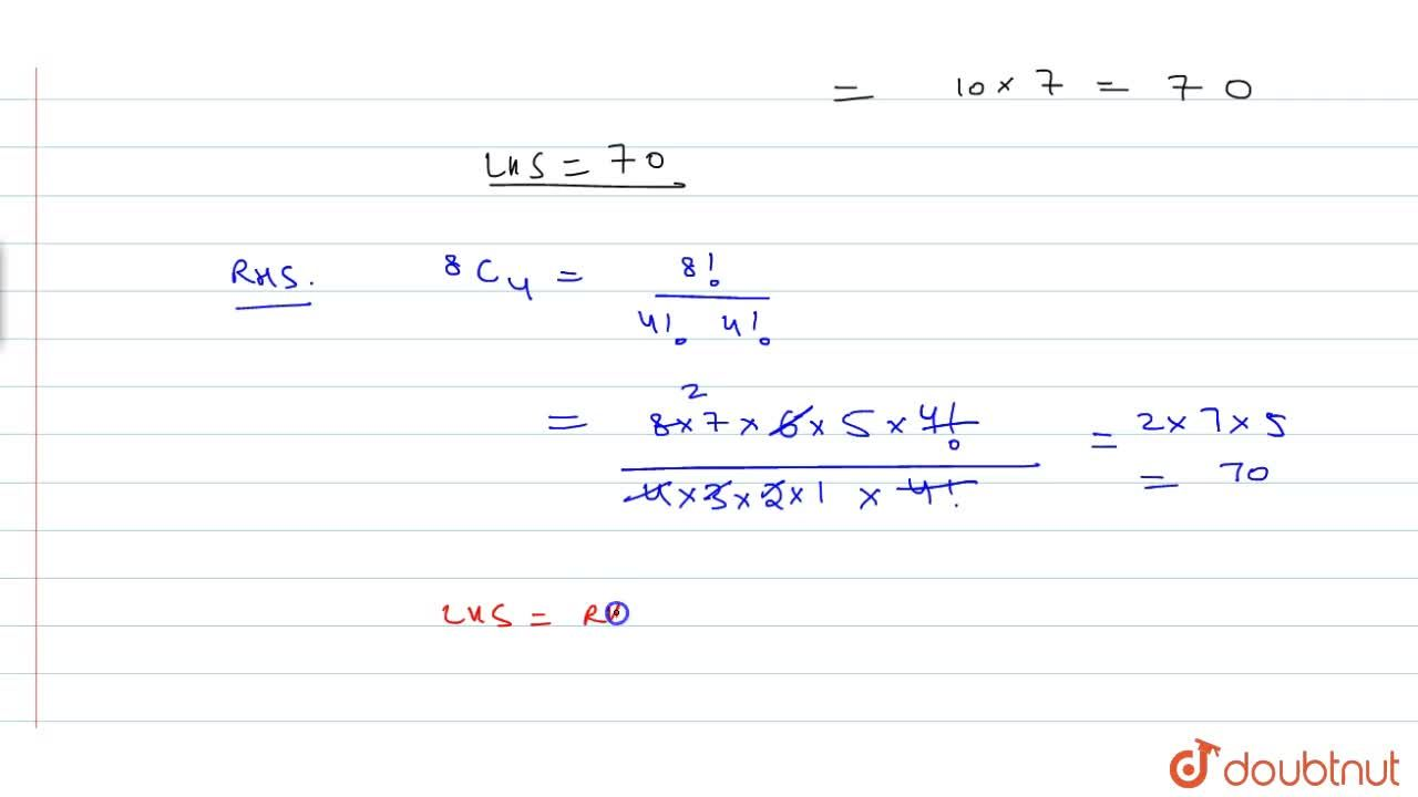 Solution for Prove that: 2xx^7C_4=^8C_4