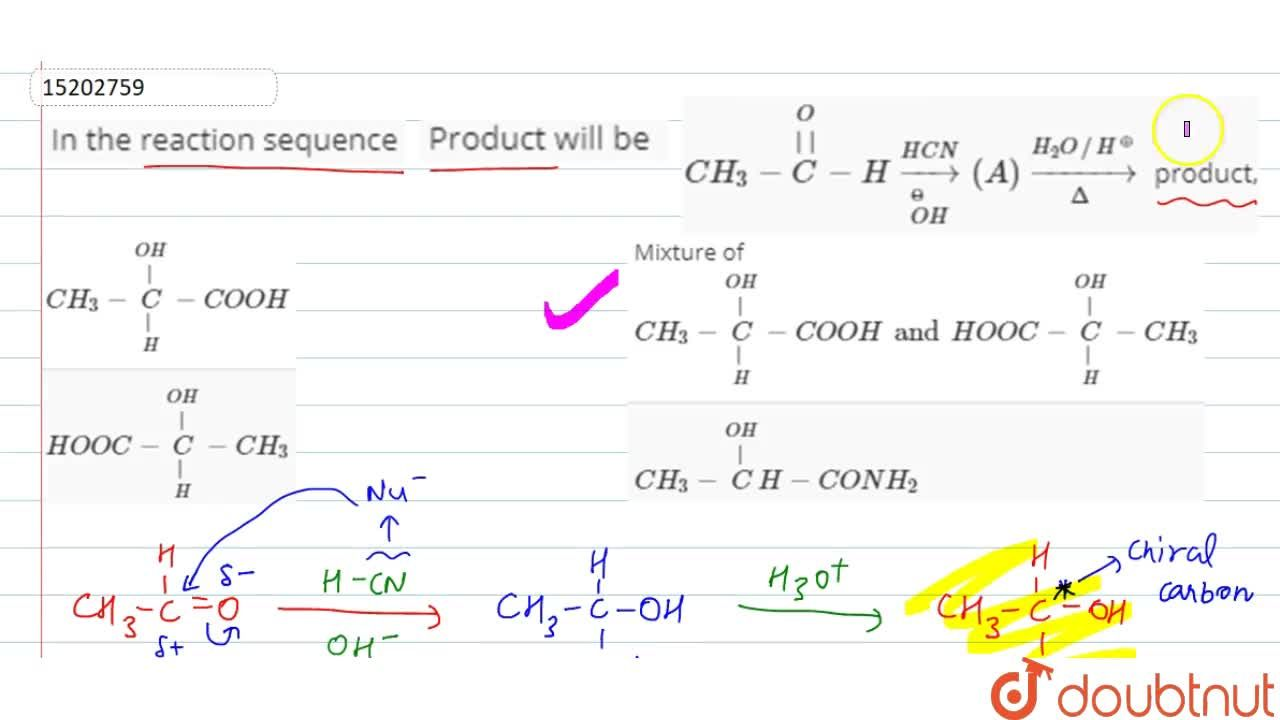Solution for In the reaction sequence <br> CH_(3)-overset(O)ov