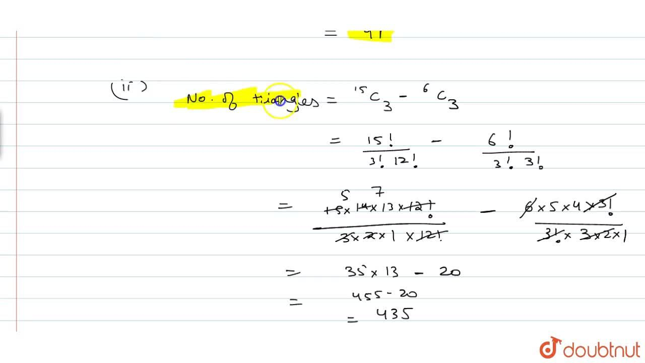 Solution for There are 15 points in a plane, no three of which