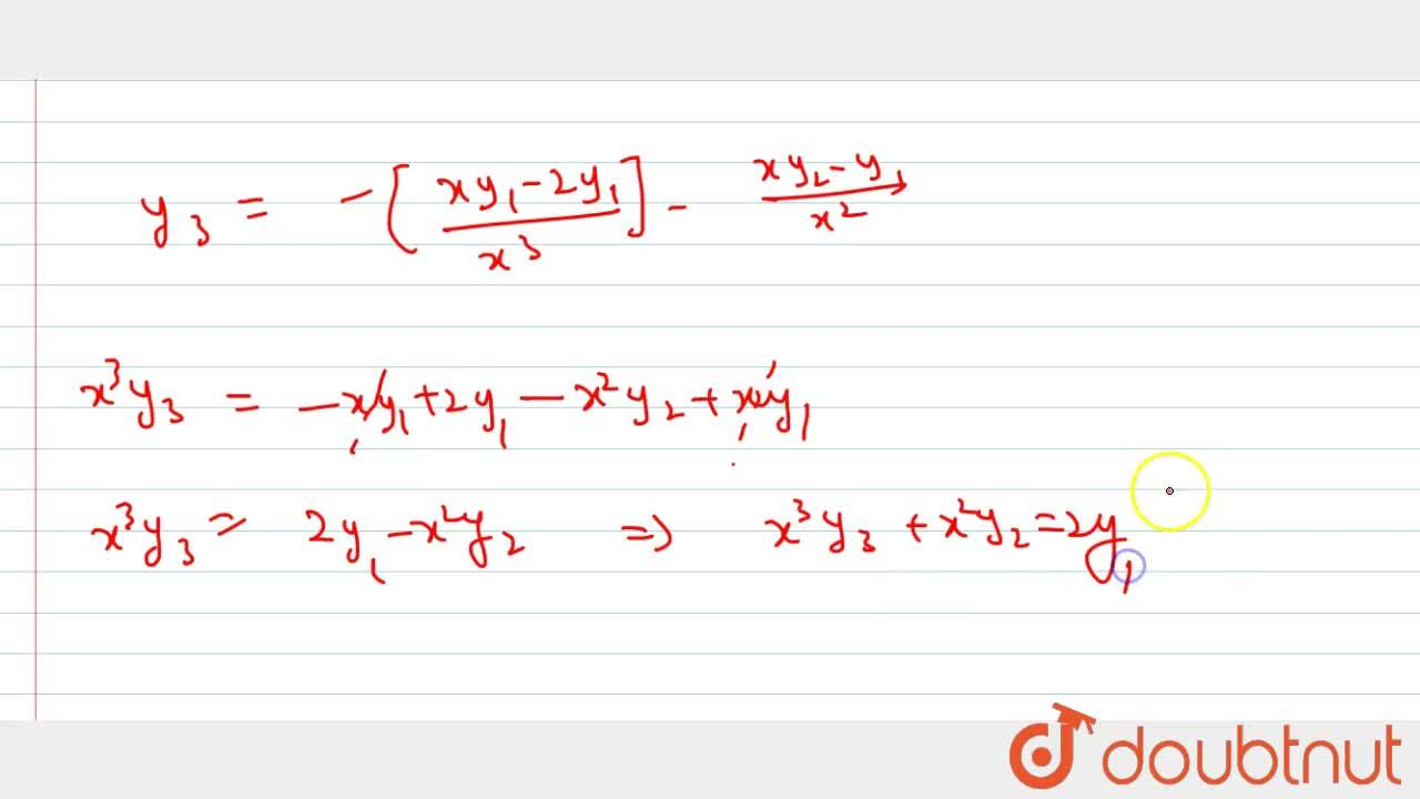 Solution for If y=acos(lnx)+bsin(lnx) then prove that x^2y_3