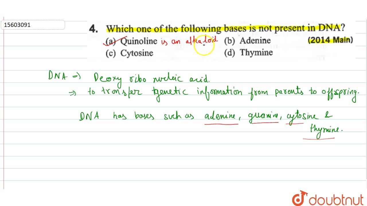 Solution for Which of the following bases is not present in DNA