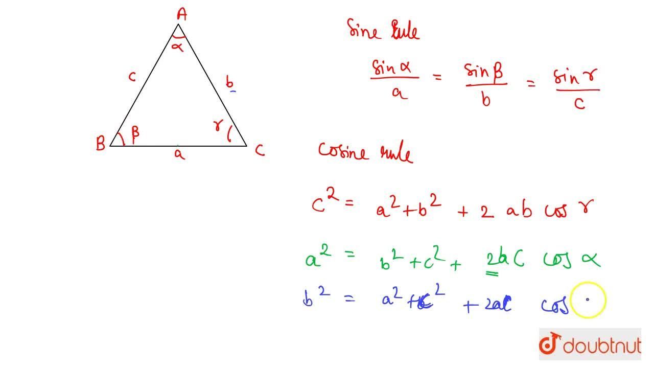 Solution for Sine And Cosine Rule For Triangels