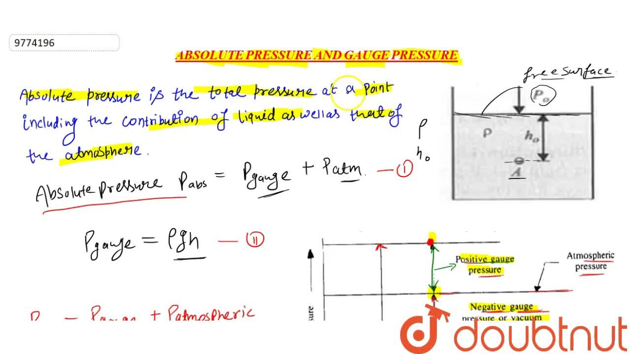 Solution for Absolute Pressure And Gauge Pressure