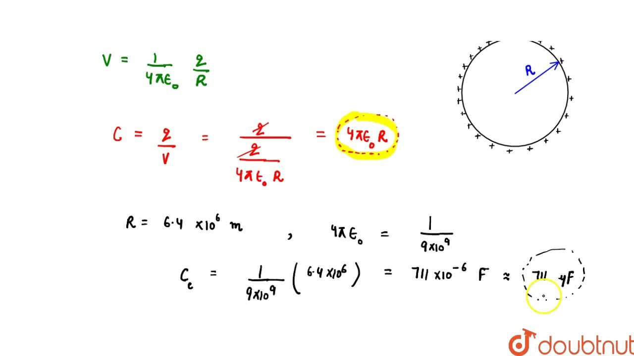 Solution for Capcitance Of A Sperical Conductor Or Capacitor