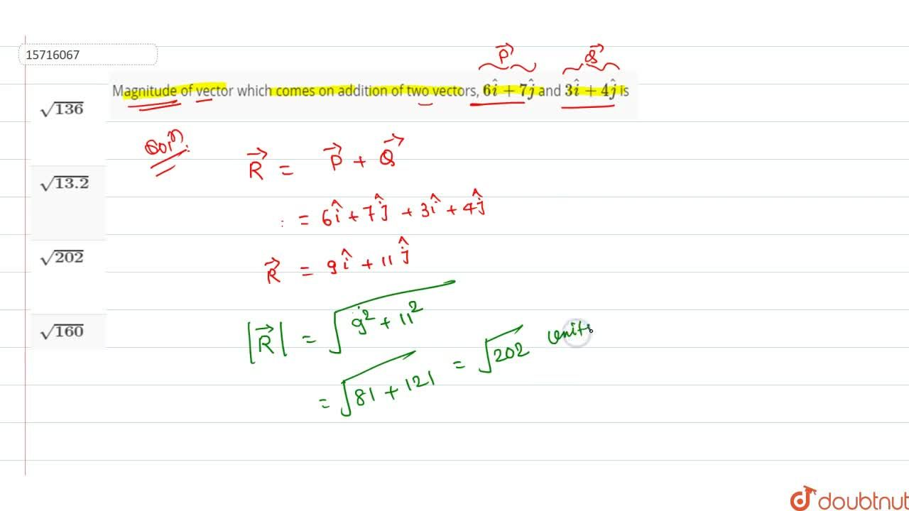 Solution for Magnitude of vector which comes on addition of two