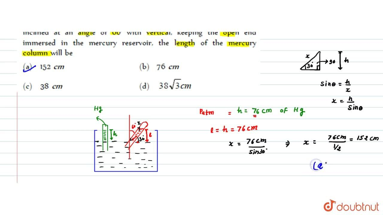 Solution for A barometer tube reads 76 cm of mercury. If the tu