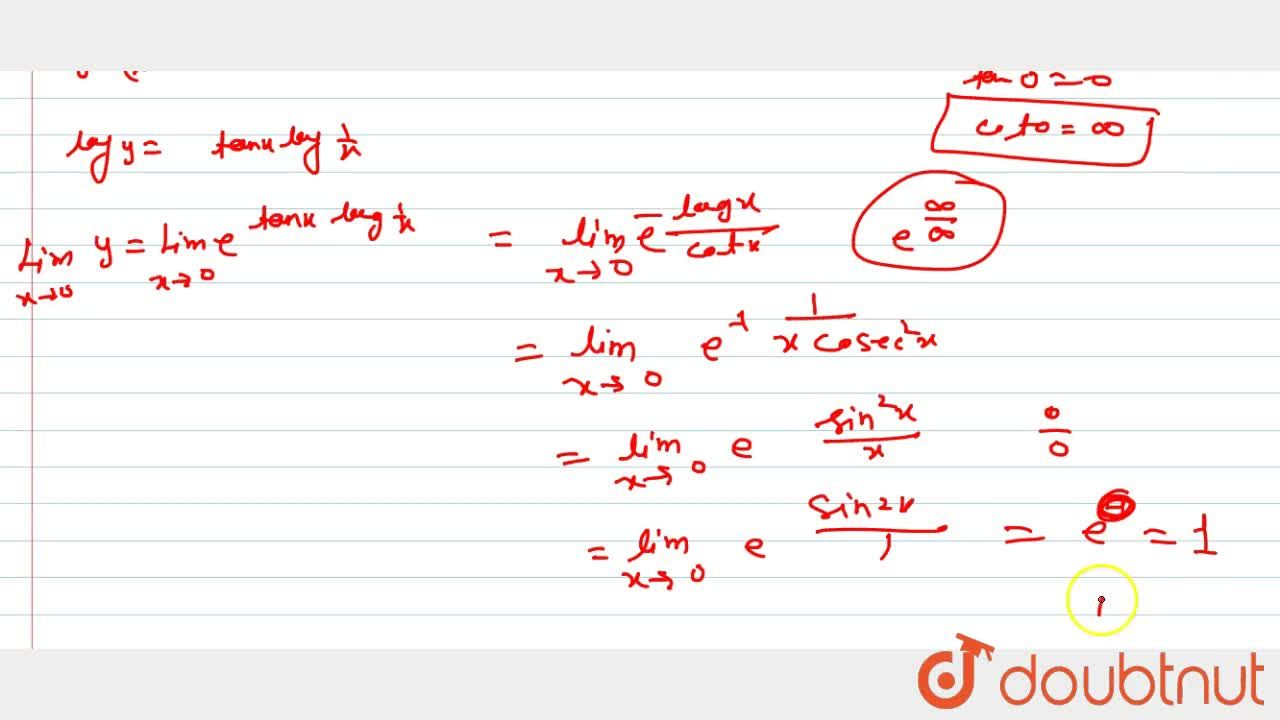 """Solution for Evaluate: (""""Lim"""")_(x->0)(1,x)^(tanx)"""
