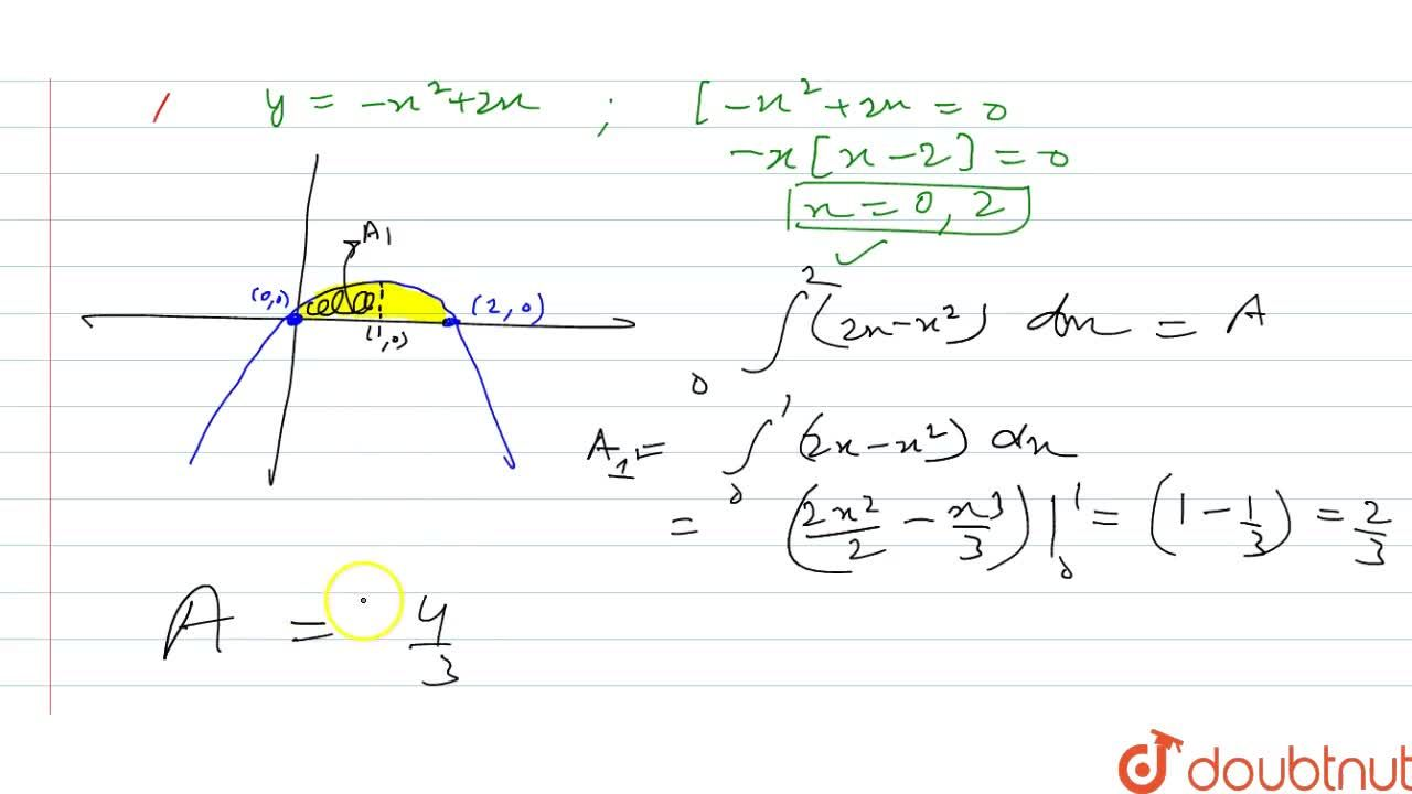 Solution for Find by integration the area of the region bounded