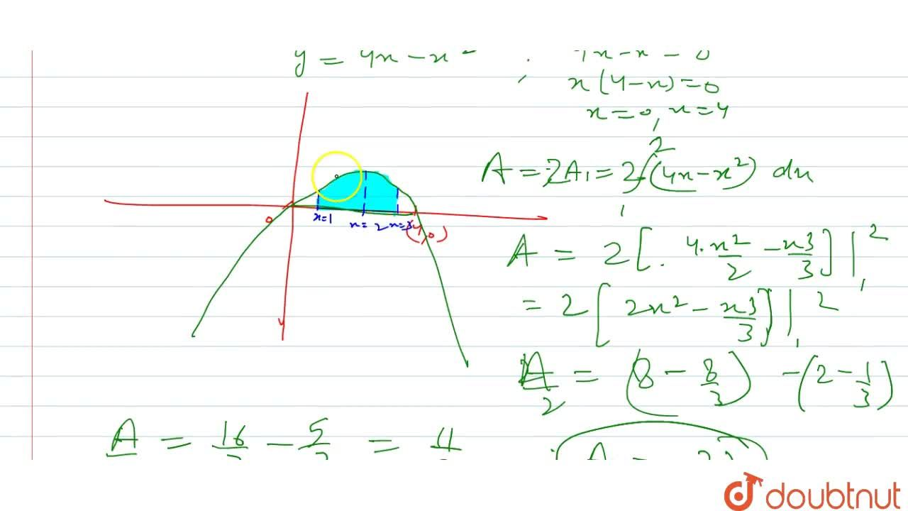 Find the area bounded by the curve y=4x-x^2, the x-axis and the ordinates x=1 and x=3.