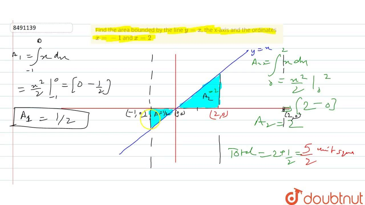 Find the area bounded by the line y=x, the x-axis and the ordinates x=-1 and x=2
