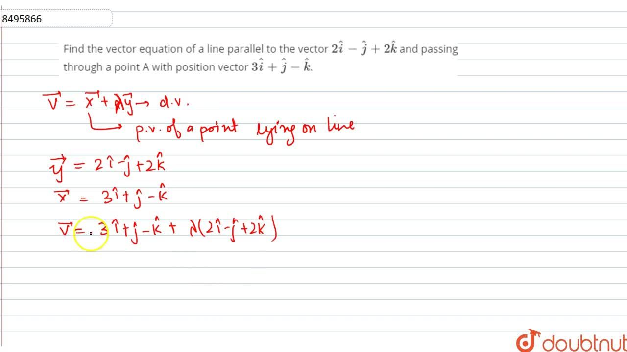 Find the vector equation of a line parallel to the vector 2hati-hatj+2hatk and passing through a point A with position vector 3hati+hatj-hatk.