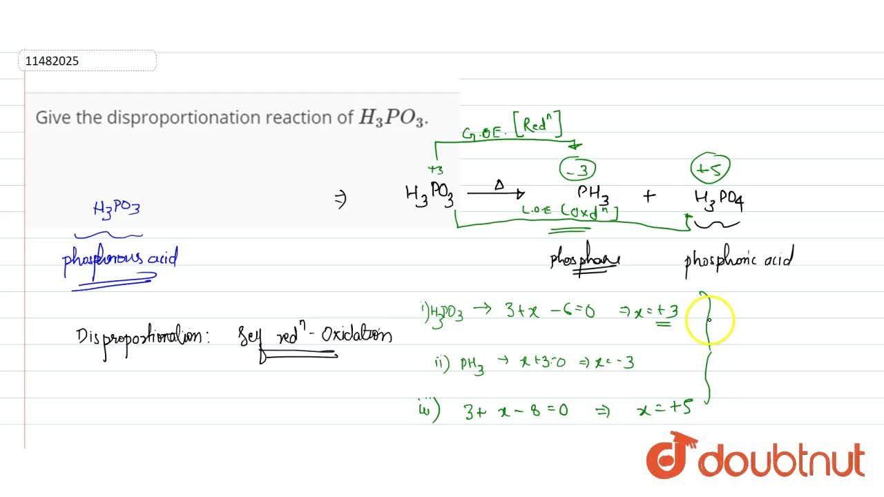 Solution for Give the disproportionation reaction of H_3PO_3.