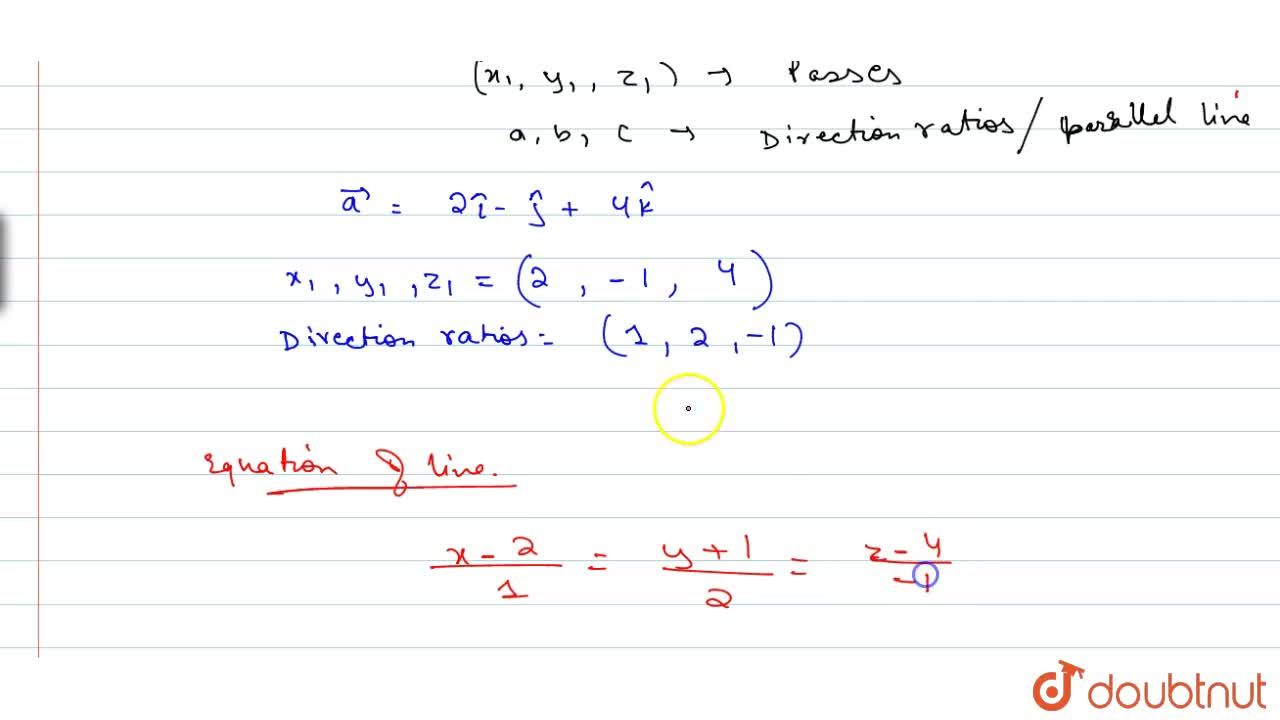 Solution for Find the equation of the line in Cartesiasn form t