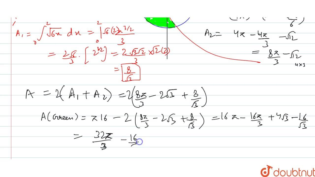 Using integration, find the area of the region common to the circle x^2+y^2=16 and the parabola y^2=6x.