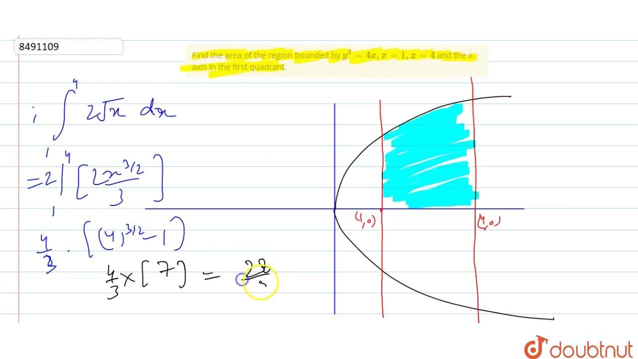 Find the area of the region bounded by y^2=4x, x=1, x=4 and the x-axis in the first quadrant.