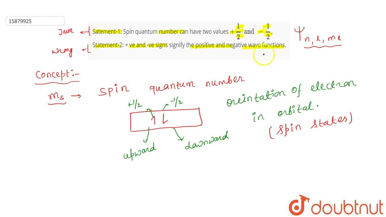 Solution for Satement-1: Spin quantum number can have two  valu