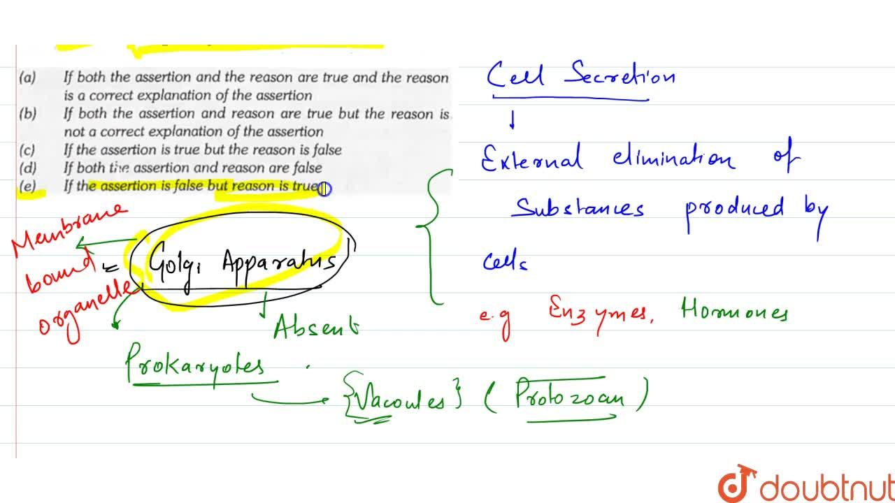 Assertion : Cell secretion does not occur in bacteria. <br> Reason : Golgi complex is absent in bacteria.