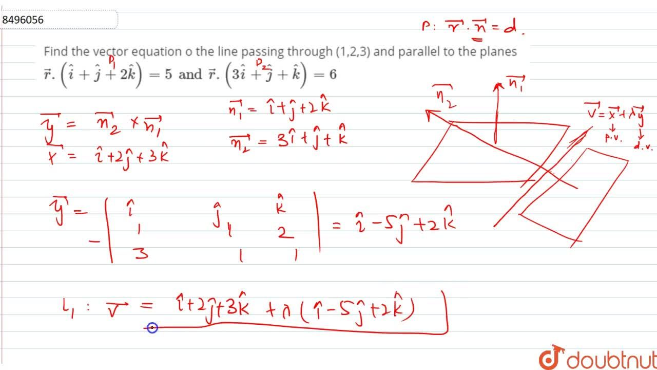 Solution for Find the vector equation o the line passing throug