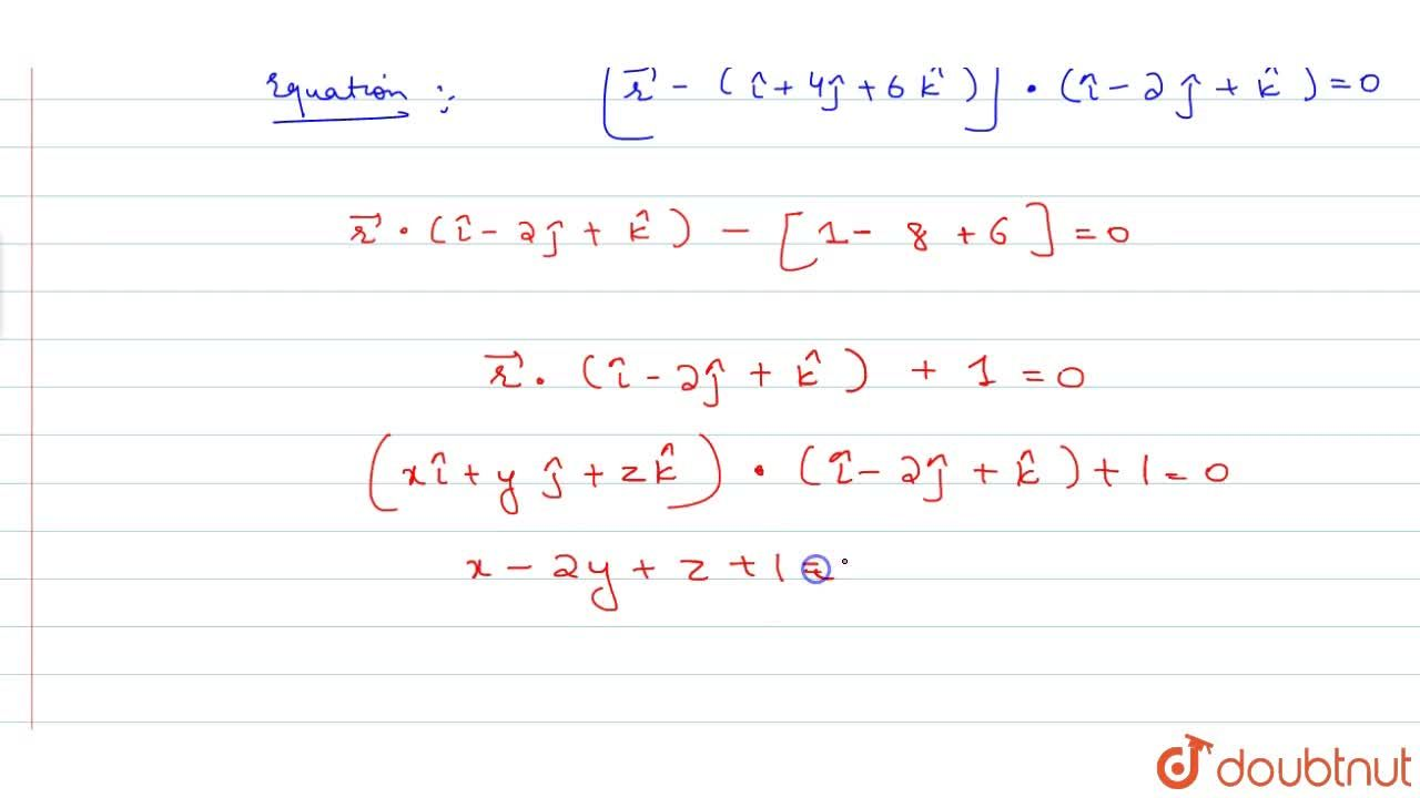 Solution for Find the vector and Cartesian equation of the plan