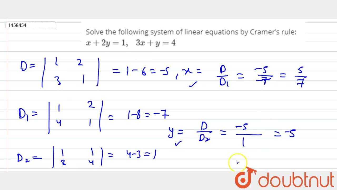 Solution for Solve the following   system of linear equations