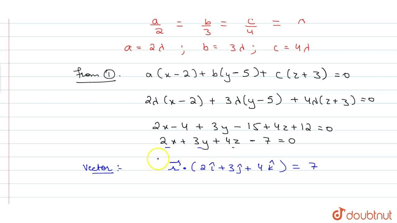 Solution for Find the vector equation of the plane passing thro