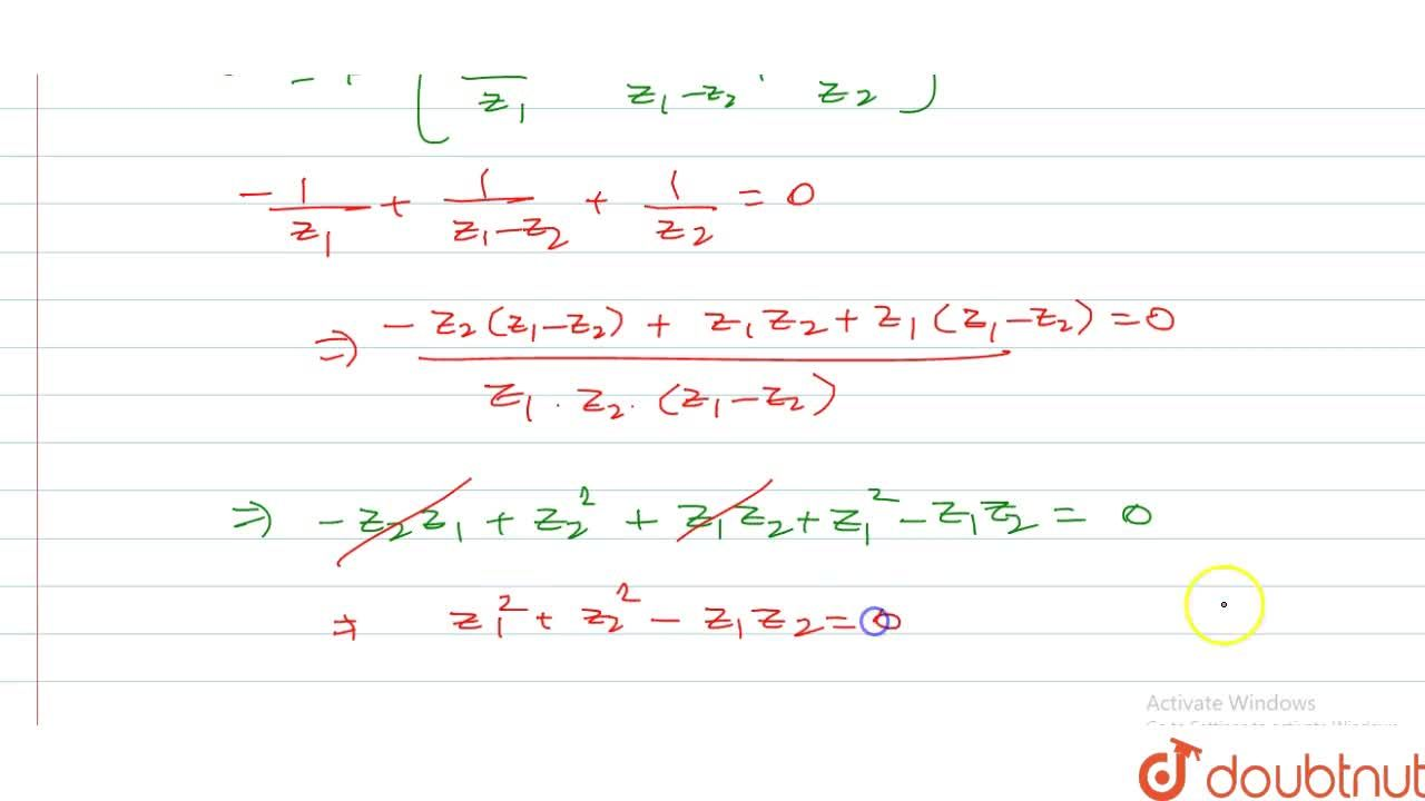 Solution for The complex numbers z_1, z_2 and the origin form