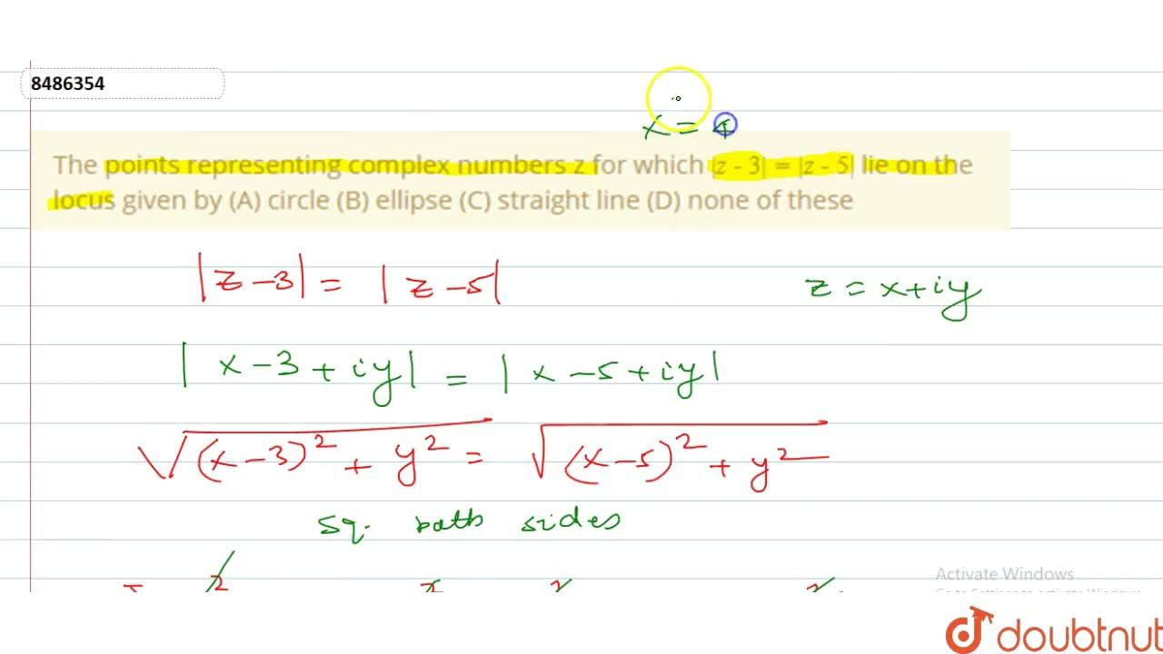 Solution for The points representing complex numbers z for whic