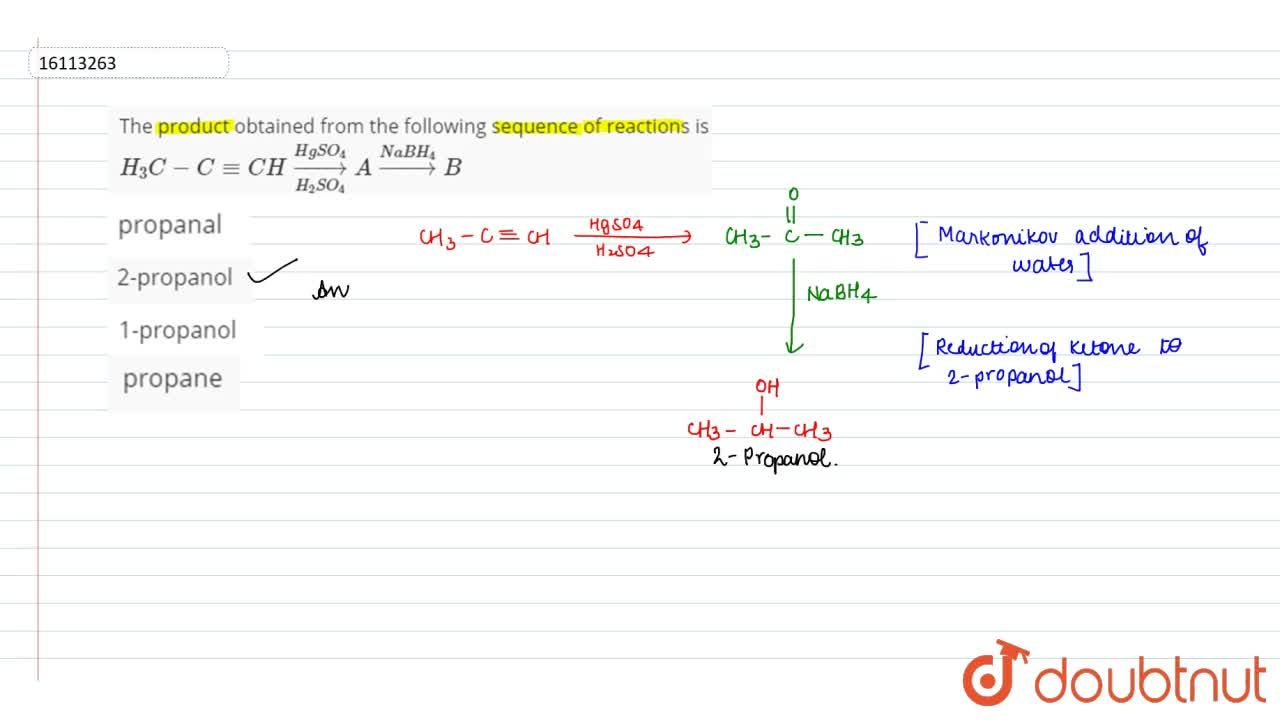 Solution for The product obtained from the following sequence o