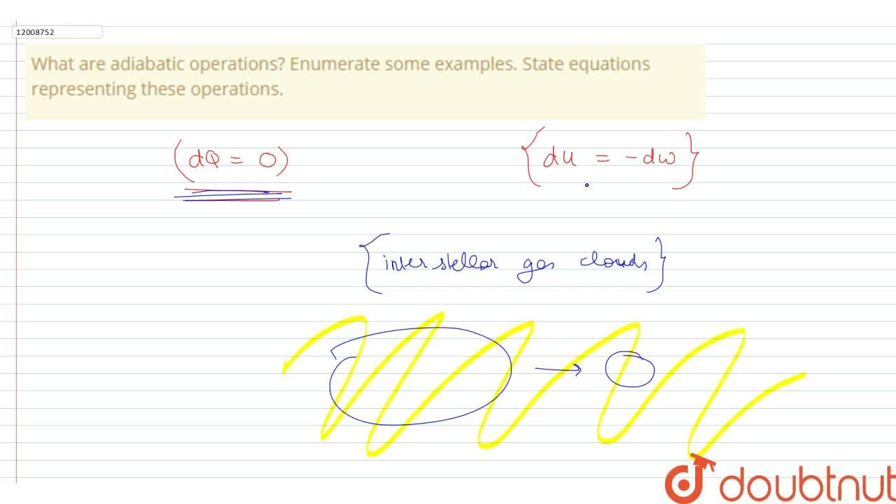 Solution for What are adiabatic operations? Enumerate some exam