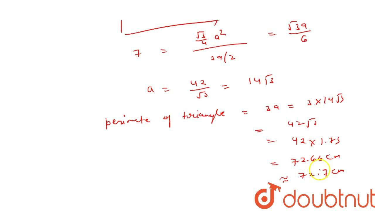 Solution for The area of incircle of an equilateral   triangle