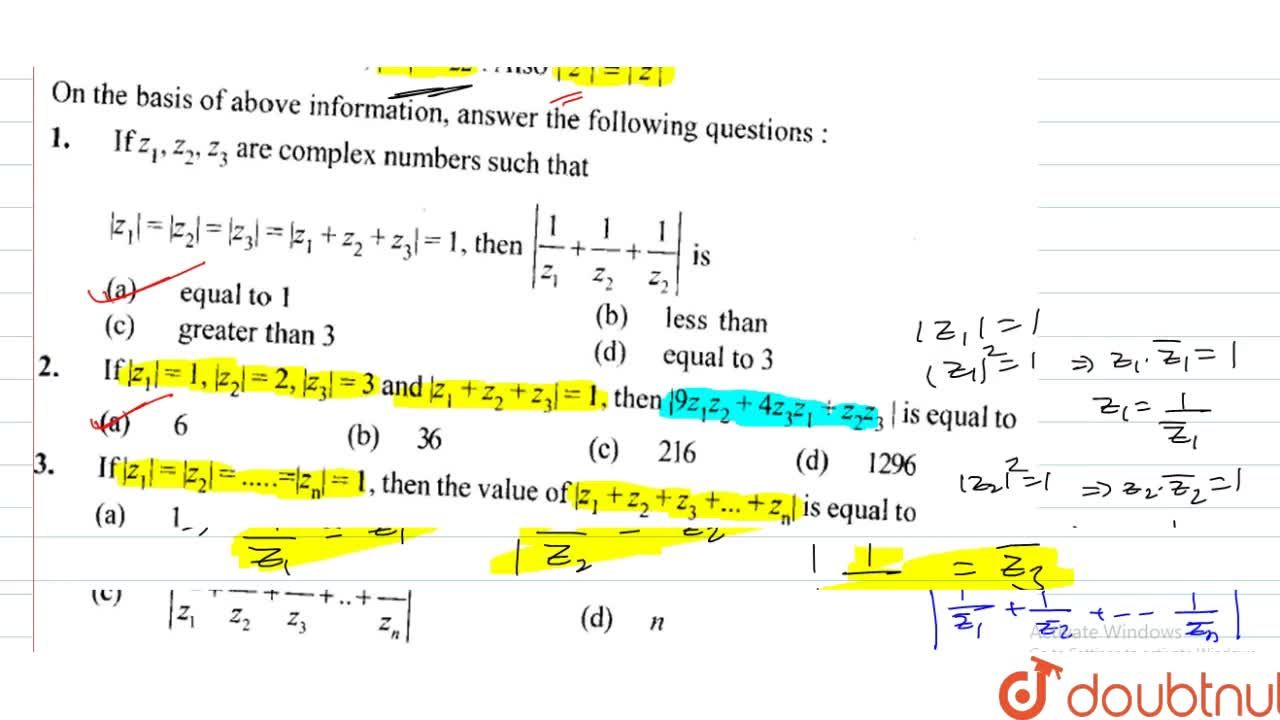 If z_1,z_2,z_3 are complex numbers such that |z_1|=z_2|=|z_3|=|z_1+z_2+z_3|=1, then (1,z_1+1,z_2+1,z_3| is (A) equal to 1 (B) les than (C) greater than 3 (D) equal to 3