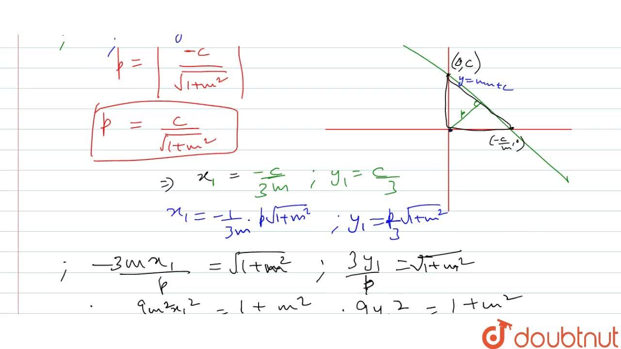 A straight line moves in such a way that the length of the perpendicular upon it from the origin is always p. Find the locus of the centroid of the triangle which is formed by the line and the axes.