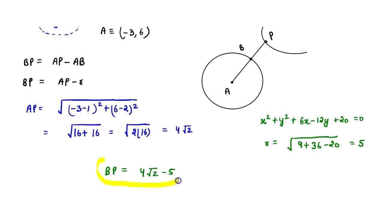 The shortest distance between the parabola y^2 = 4x and the circle x^2 + y^2 + 6x - 12y + 20 = 0 is : (A) 0 (B) 1 (C) 4sqrt(2) -5 (D) 4sqrt(2) + 5