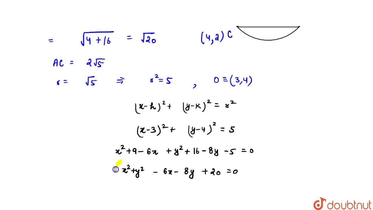 Solution for The equation of the circle which inscribes a suqre