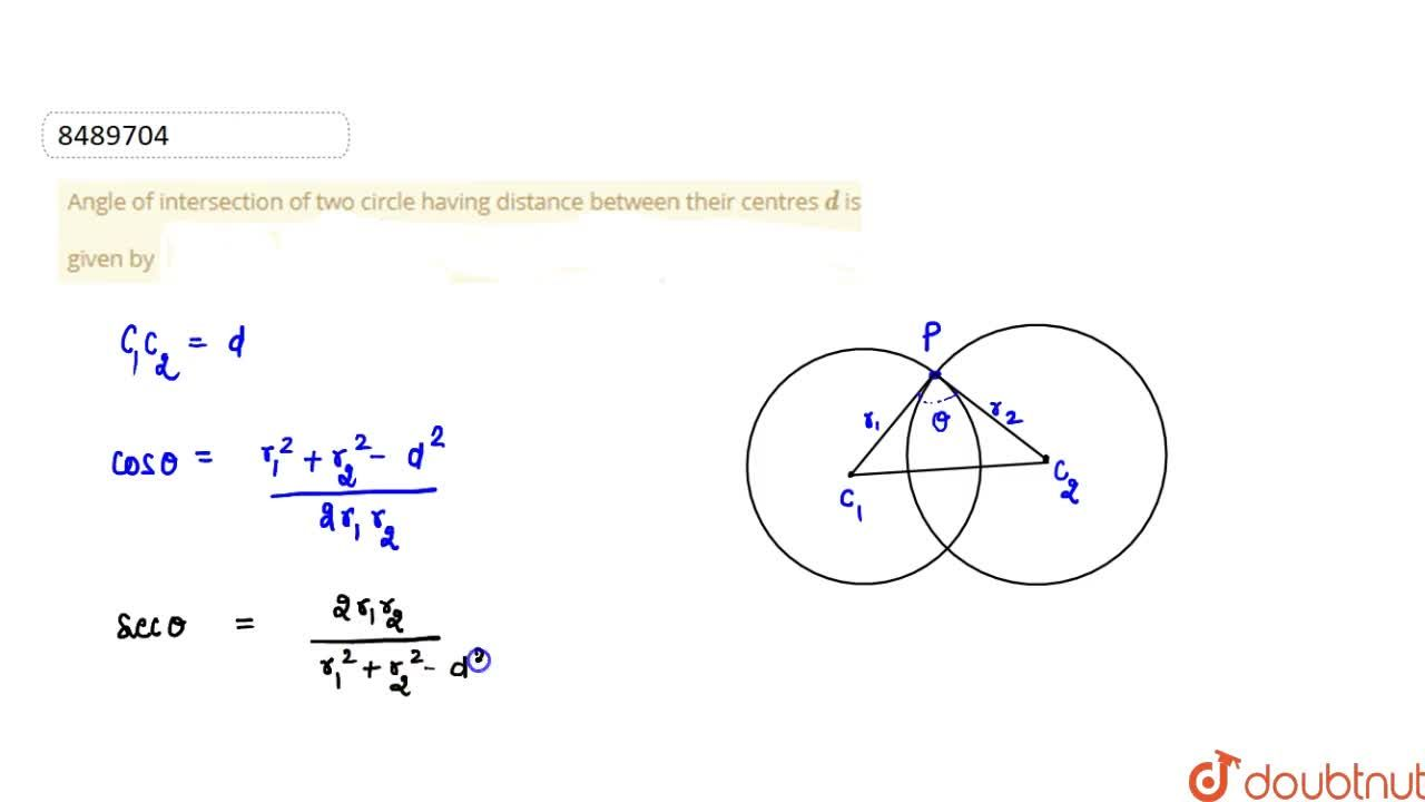 Solution for Angle of intersection of two circle having distanc