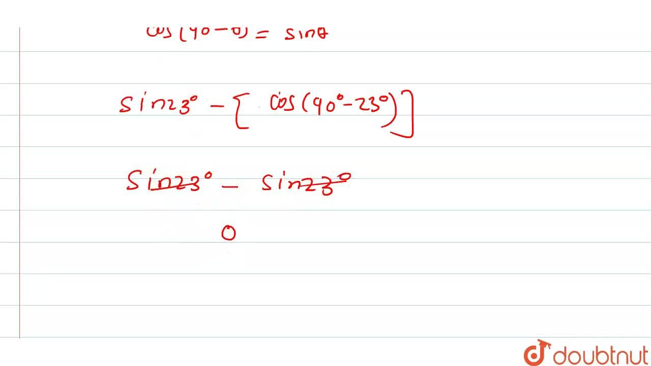 Solution for मान निकालिए : <br> sin 23^(@)-cos67^(@)