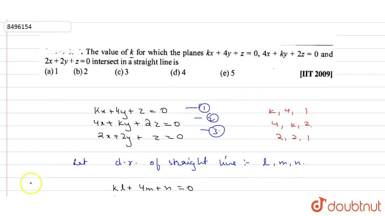 Solution for The value of k for which the planes kx+4y+z=0, 4x