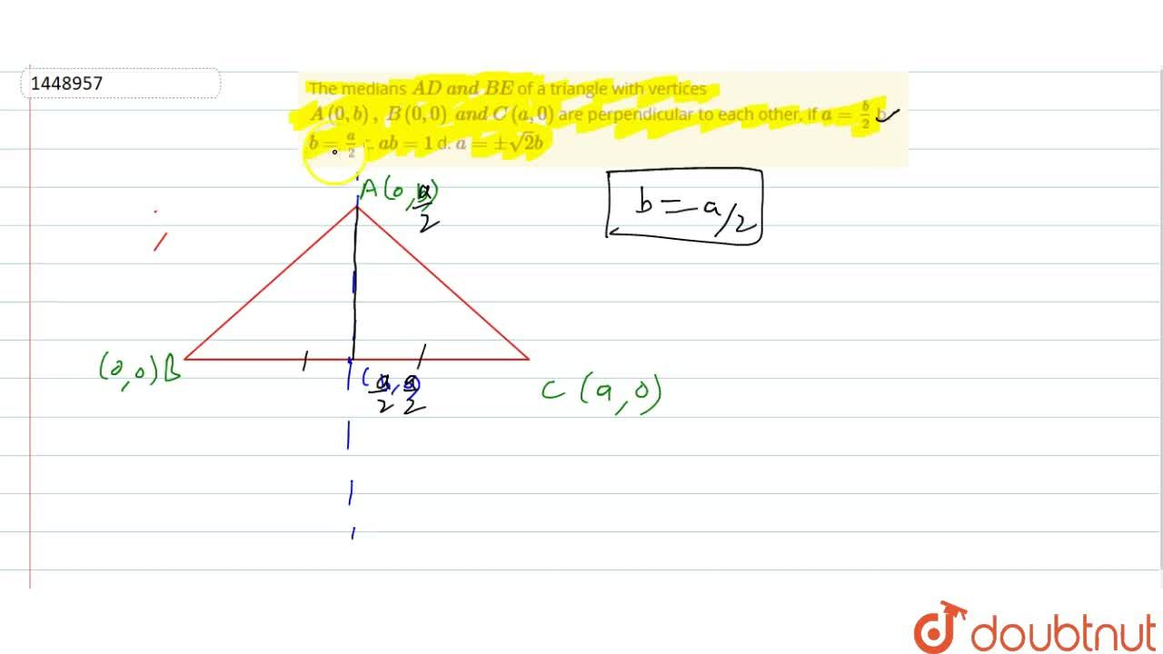 Solution for The medians A D\ a n d\ B E of a triangle with v