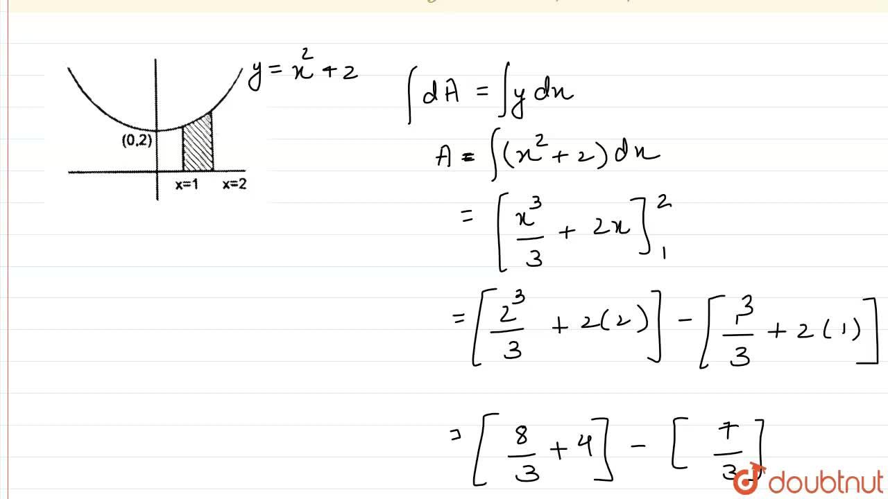 Solution for Find the area  enclosed between curve y = x^(2)+2