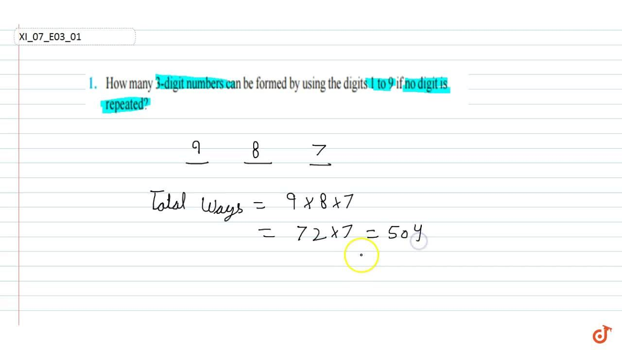 Solution for How many 3-digit  numbers can be formed by using t