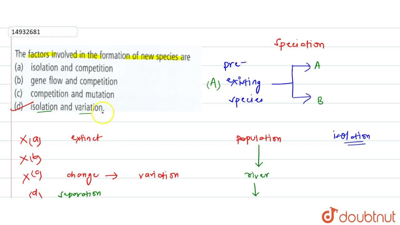 Solution for The factors involved in the formation of new speci