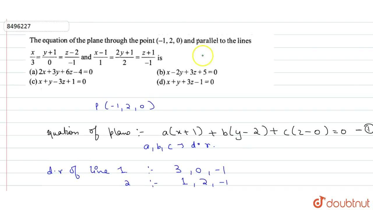 Solution for The equation of the plane thorugh the point (-1,2