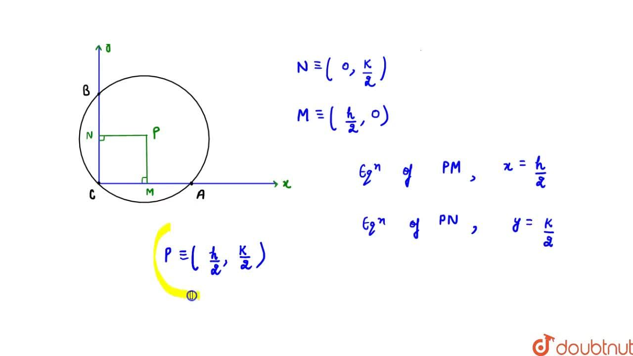 The centre of circle which passes through A (h, 0), B (0, k) and C (0, 0) is : (A) (h,2, 0) (B) (0, k,2) (C) (h,2, k,2) (D) (h, k)