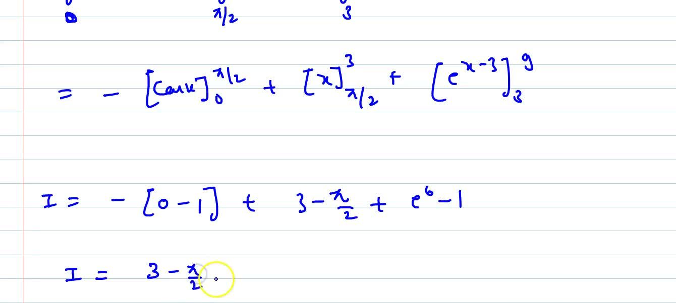 Evaluate the following integral: int_0^9f(x)dx ,\ w h e r e\ f(x){sinx ,\ 0lt=xlt=pi,,2 1,pi,2lt=xlt=3e^(x-3),\ 3lt=xlt=9