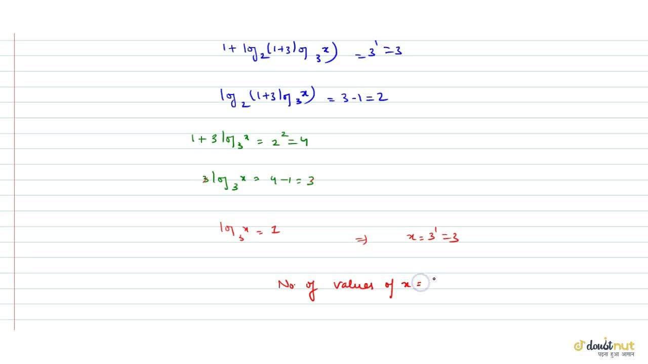 Solution for The number of values of x if log_4(2log_3(1+log
