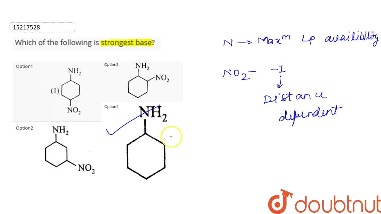 Solution for Which of the following is strongest base?