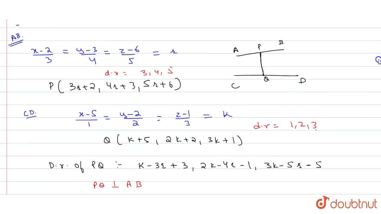 Solution for The shortest distance between the lines (x-2),3=(